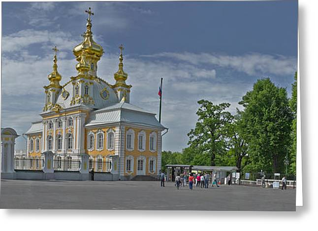 Onion Dome Greeting Cards - Church Of Peterhof Grand Palace Greeting Card by Panoramic Images