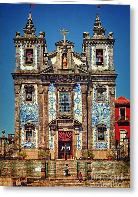 Wood Carving Greeting Cards - Church of Saint Ildefonso - Porto Greeting Card by Mary Machare