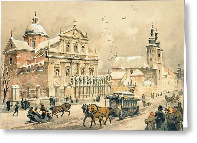 Blizzard Scenes Drawings Greeting Cards - Church Of St Peter And Paul in Krakow Greeting Card by Stanislawa Kossaka