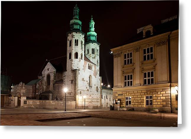 Polish Culture Greeting Cards - Church of St. Andrew at Night in Krakow Greeting Card by Artur Bogacki