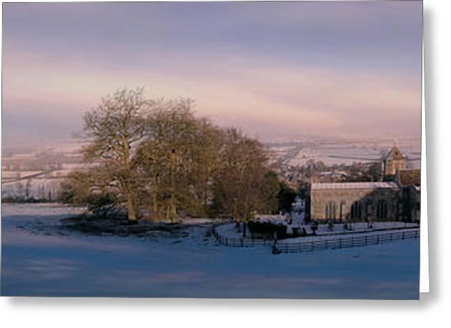 Snow Tree Prints Greeting Cards - Church of St Leonard. Rockingham. Greeting Card by ShabbyChic fine art Photography