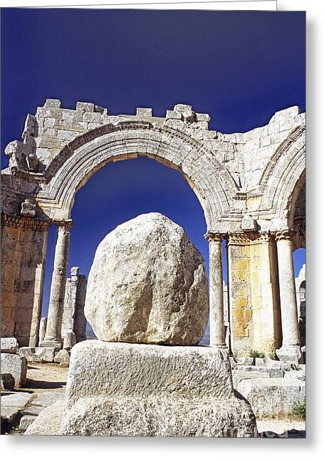 Ancient Ruins Greeting Cards - Church Of St. Simeon, Syria Greeting Card by Catherine Ursillo
