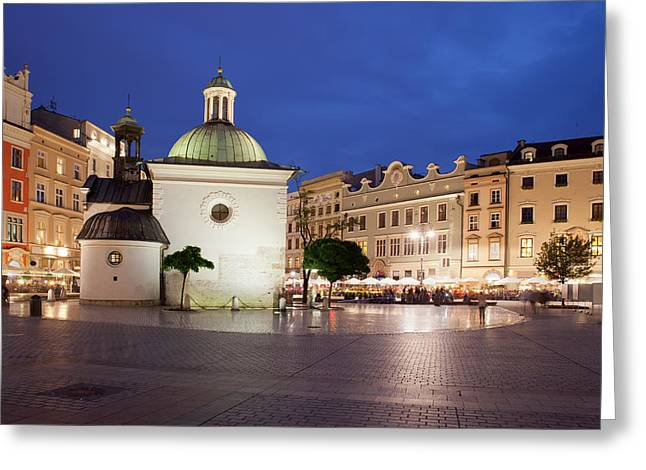 Residential Structure Greeting Cards - Church of St. Wojciech in Krakow at Night Greeting Card by Artur Bogacki