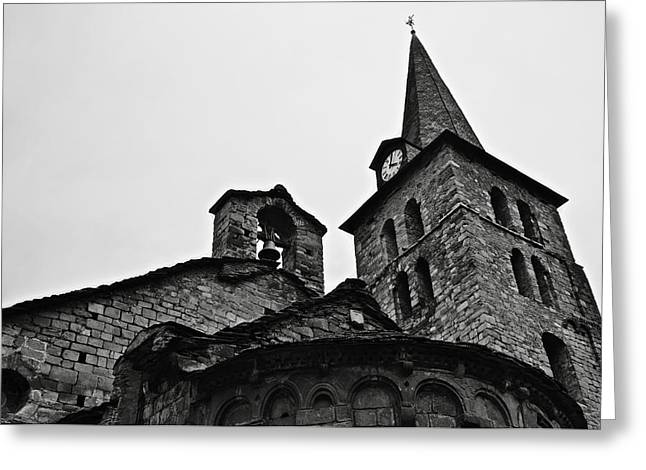 Pantocrator Greeting Cards - Church of the Assumption of Mary in Bossost - Abse and tower BW Greeting Card by RicardMN Photography