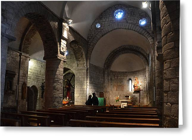 Pantocrator Greeting Cards - Church of the Assumption of Mary in Bossost Greeting Card by RicardMN Photography