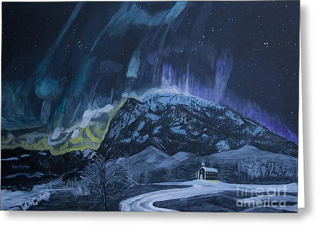 Starlet Paintings Greeting Cards - Church of the Aurora Greeting Card by Ian Donley