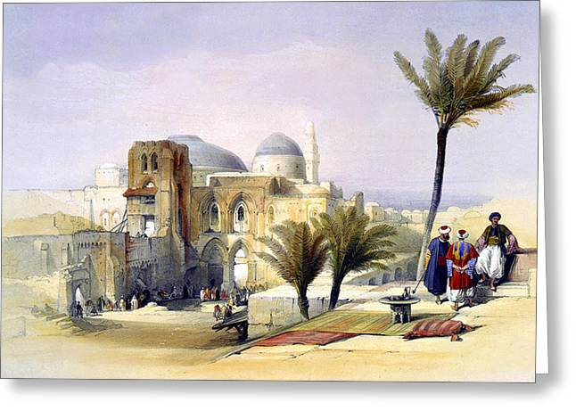 Recently Sold -  - The Church Greeting Cards - Church of the Holy Sepulchre in Jerusalem Greeting Card by Munir Alawi