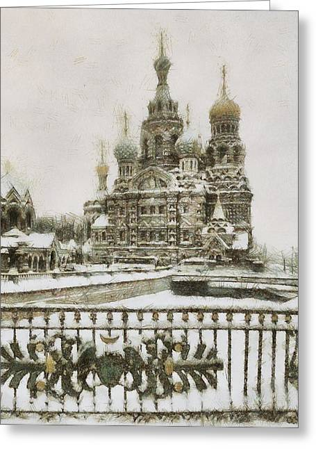 Church On Spilled Blood Greeting Cards - Church of the Savior on Spilled Blood Greeting Card by Vasiliy Agapov