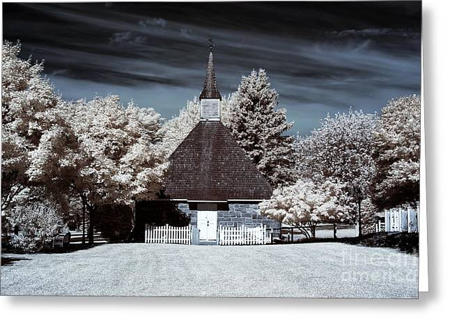 East Jersey Olde Towne Village Greeting Cards - Church of the Three Mile Run Greeting Card by John Rizzuto