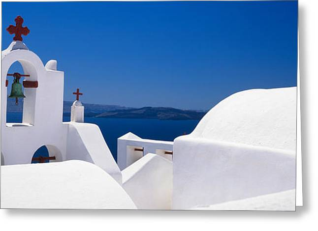 Oia Greeting Cards - Church, Oia, Santorini, Cyclades Greeting Card by Panoramic Images