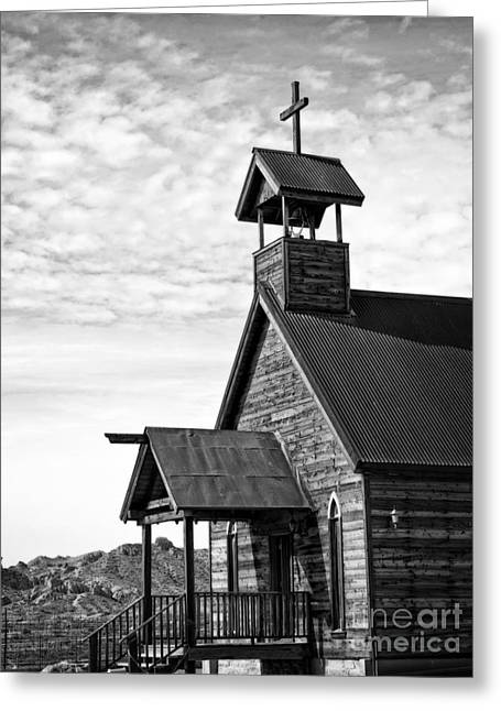 The Wooden Cross Greeting Cards - Church on the Mount in Black and White Greeting Card by Lee Craig