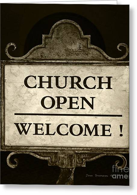 Evangelical Greeting Cards - Church Open Welcome Sign Greeting Card by John Stephens