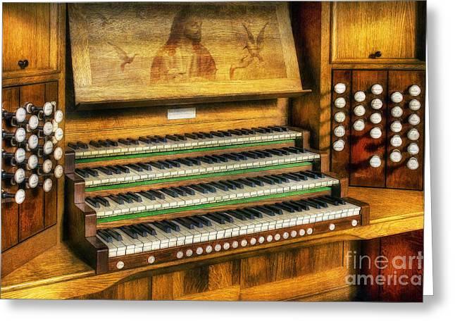 Organist Greeting Cards - Church Organ Art Greeting Card by Ian Mitchell