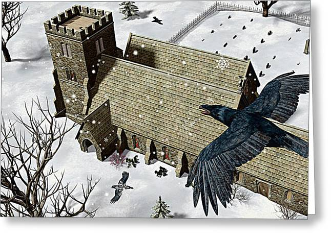 Winter Crows Greeting Cards - Church Ravens Greeting Card by Peter J Sucy