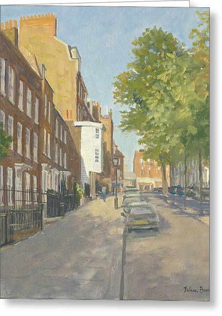 Street Scenes Greeting Cards - Church Row, Hampstead Oil On Canvas Greeting Card by Julian Barrow