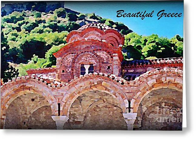 Photograph Of Painter Greeting Cards - Church Ruins in Greece Greeting Card by John Malone
