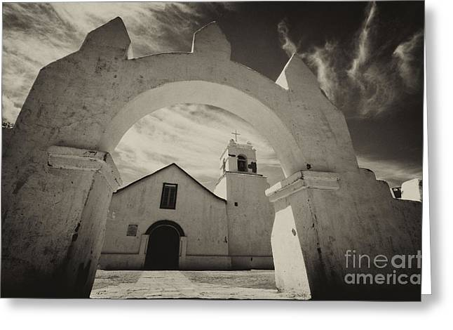 Historic Buildings Of The World Greeting Cards - Church San Pedro De Atacama Chile Greeting Card by Bob Christopher