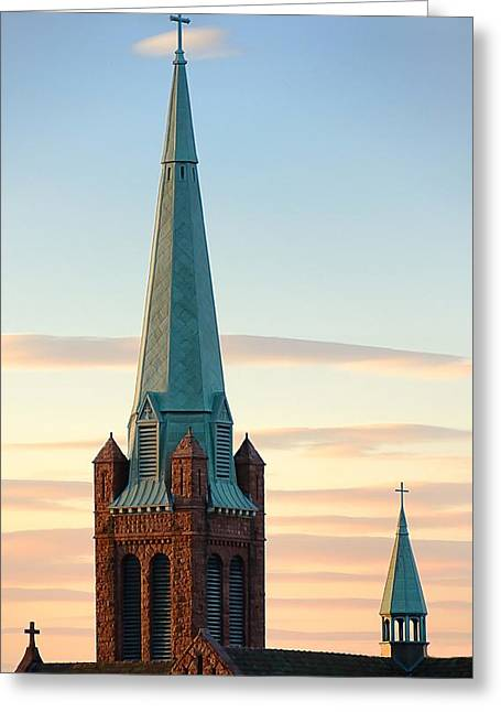 Religious Symbol Greeting Cards - Church Spire at Days End Greeting Card by Jim Hughes