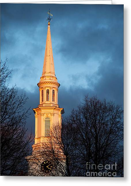 First Sunset Greeting Cards - Church Steeple Greeting Card by Brian Jannsen