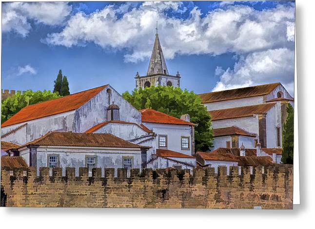 Portugal Paintings Greeting Cards - Church Steeple in the Medieval Fortified Village of Obidos Greeting Card by David Letts
