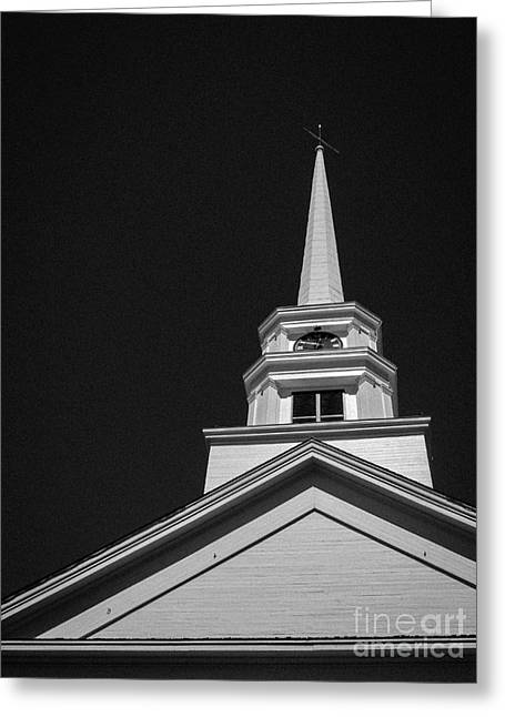 Stowe Greeting Cards - Church Steeple Stowe Vermont Greeting Card by Edward Fielding