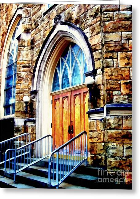 Blue Glass World Greeting Cards - Church - Step right in  Greeting Card by Janine Riley
