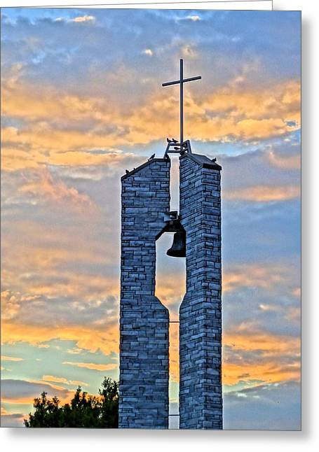 Rosary Greeting Cards - Church Sunset Greeting Card by Dan Sproul