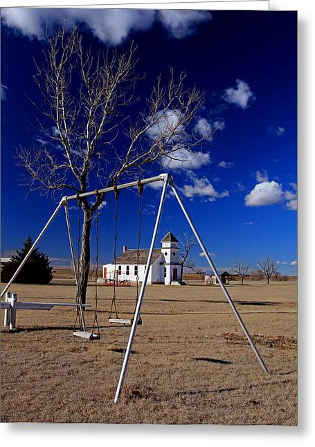 Sante Fe Trail Greeting Cards - Church Swings Greeting Card by Christopher McKenzie