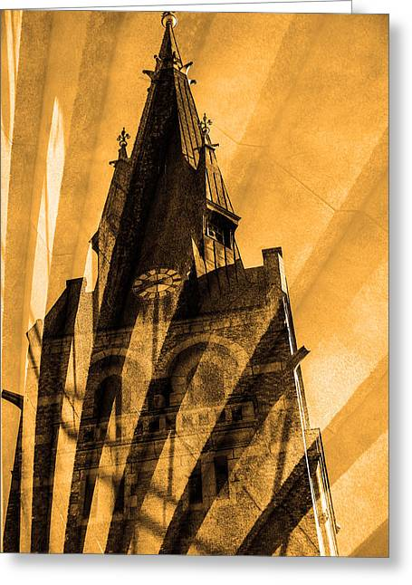 Streetlight Greeting Cards - Church Greeting Card by Toppart Sweden