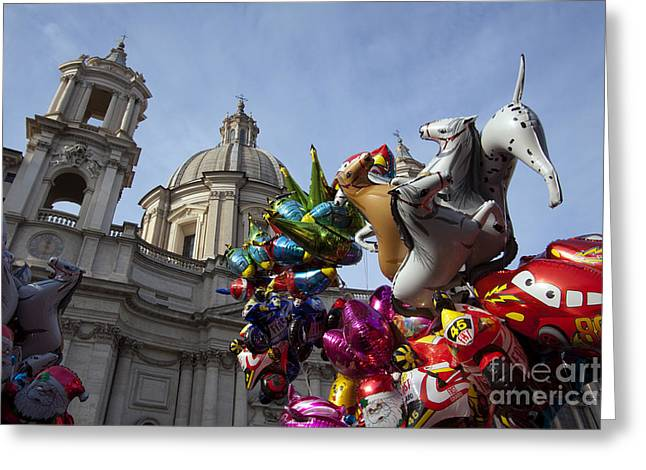 Medieval Clock Greeting Cards - Church Tower And Balloon Animals Greeting Card by Tim Holt