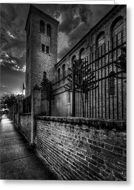 Sidewalks. Arches Greeting Cards - Church Tower in the Clouds Greeting Card by Marvin Spates