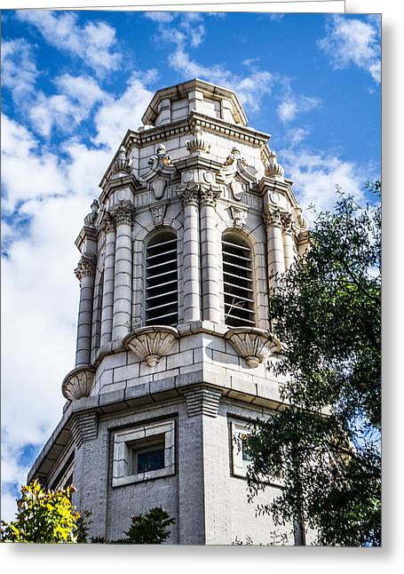 Soft Light Greeting Cards - Church Tower Greeting Card by Shelby  Young