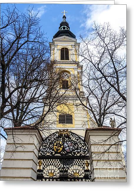 Intricate Shells Greeting Cards - Church Tower with Wrought Iron Gate  Grossweikersdorf Austria Greeting Card by Menega Sabidussi