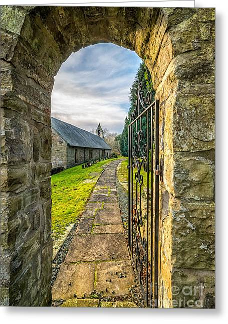 Grave Stone Greeting Cards - Church Way Greeting Card by Adrian Evans