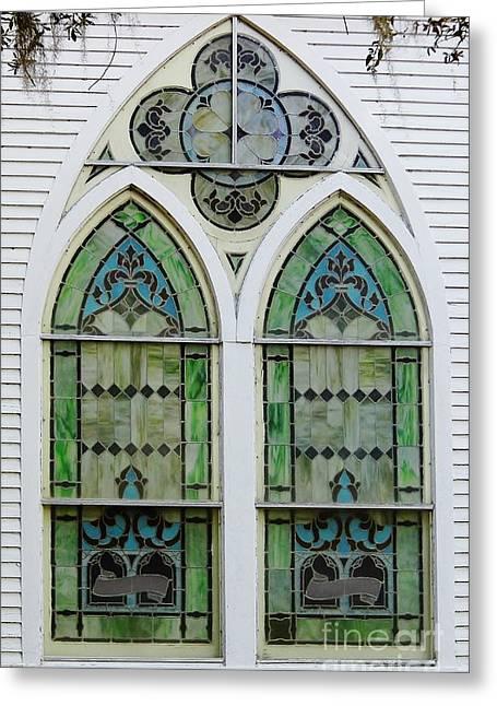 Mcintosh Farm Greeting Cards - Church Window Greeting Card by D Hackett