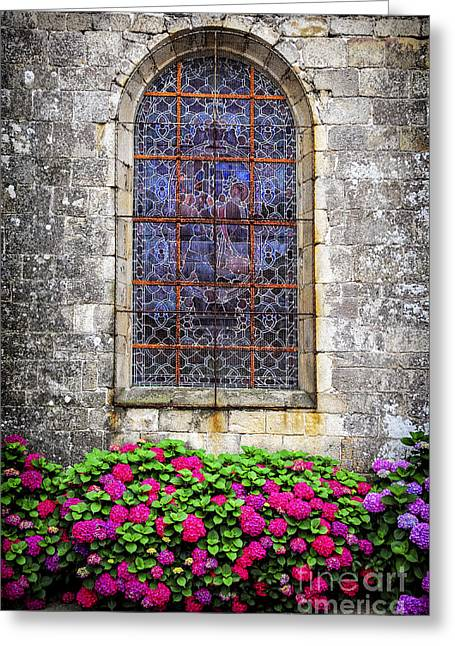 Glass Wall Greeting Cards - Church window in Brittany Greeting Card by Elena Elisseeva
