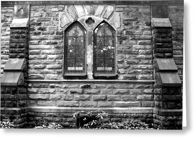 Glass Wall Greeting Cards - Church Windows and Buttresses bw Greeting Card by Mary Bedy
