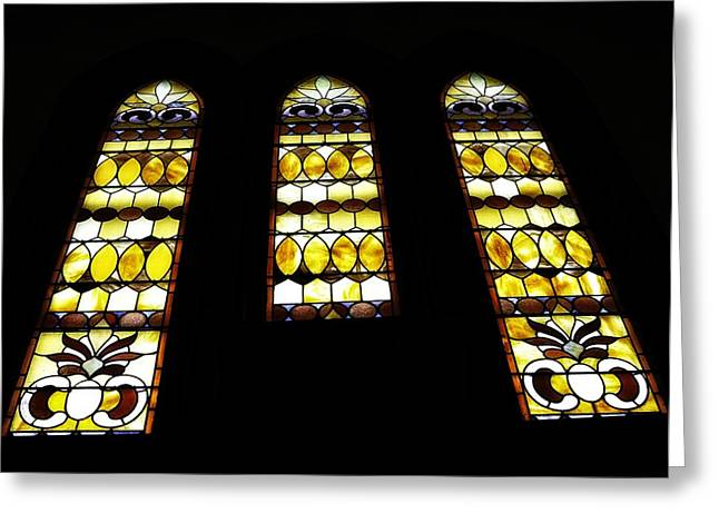Stained Glass 3 Greeting Cards - Church Windows Greeting Card by Image Takers Photography LLC - Laura Morgan