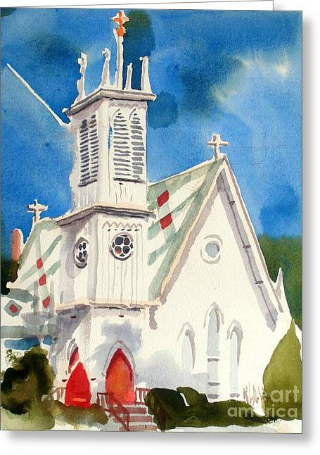 Episcopalian Greeting Cards - Church with Jet Contrail Greeting Card by Kip DeVore