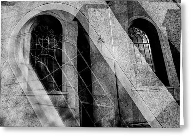Streetlight Greeting Cards - Church With Window Greeting Card by Toppart Sweden