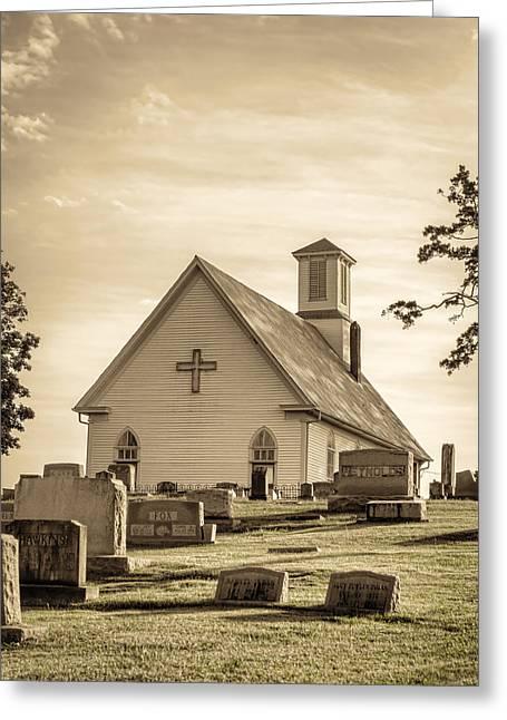 Dappled Light Greeting Cards - Church Yard Greeting Card by Heather Applegate