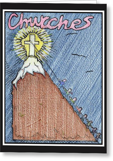"""uphill Battle"" Greeting Cards - Churches Greeting Card by Jason Girard"