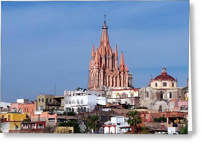 Colonial Pyrography Greeting Cards - Churches of San Miguel Mexico  Greeting Card by Cristiana Marinescu