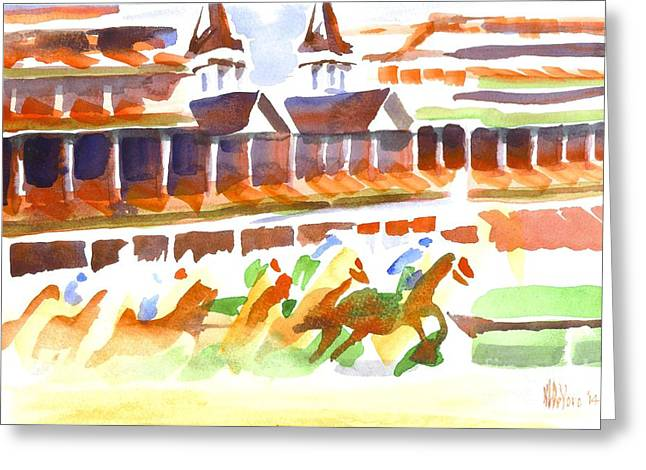 Churchill Greeting Cards - Churchill Downs Watercolor Greeting Card by Kip DeVore