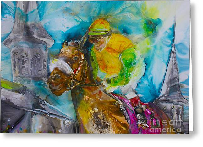 Belmont Stakes Greeting Cards - Churchill  Greeting Card by Kasha Ritter