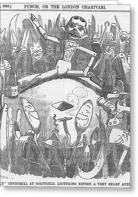 Scissors Drawings Greeting Cards - Churchill lecturing cartoon Greeting Card by Konni Jensen