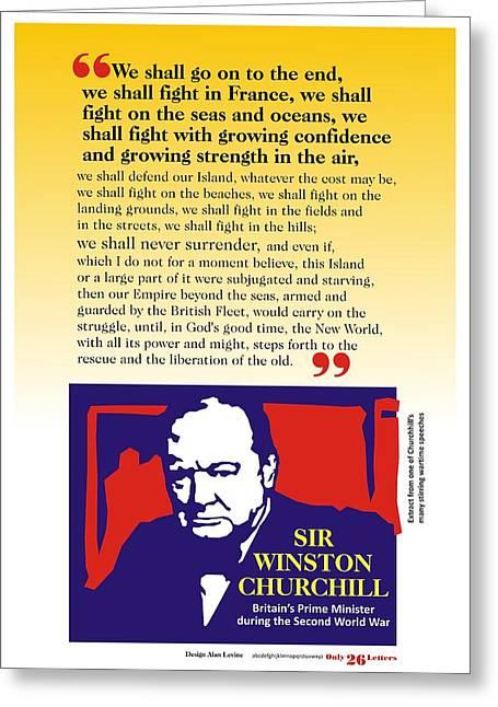 Churchill War Speech 1 Greeting Card by Alan Levine