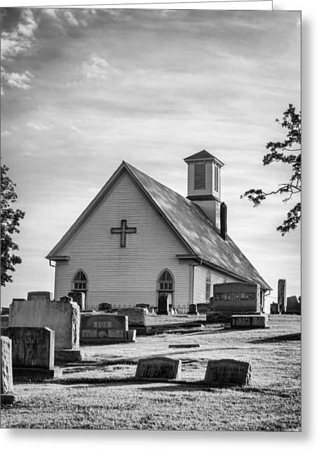 Headstones Greeting Cards - Churchyard BW Greeting Card by Heather Applegate