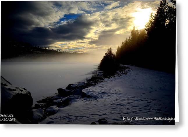 Naramata Greeting Cards - Chute Lake Winter Greeting Card by Guy Hoffman