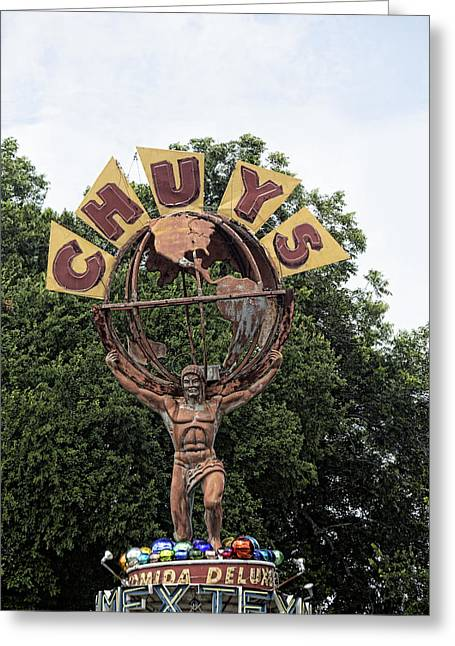 Metal Sculpture Greeting Cards - Chuys Atlas Sygn Greeting Card by Linda Phelps